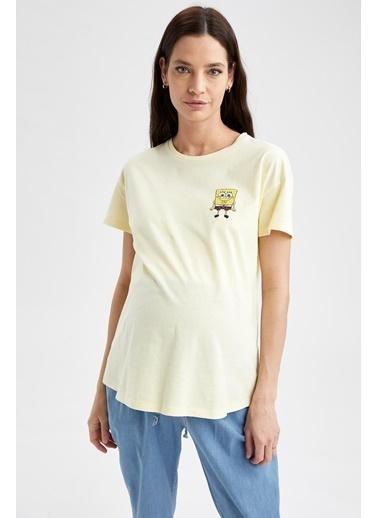 DeFacto Bisiklet Yaka SpongeBob SquarePants Lisanslı Hamile T-shirt Sarı